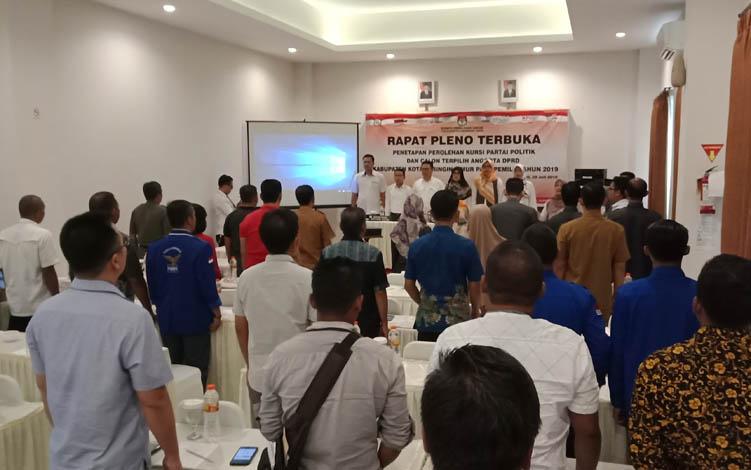 Pleno terbuka KPU Kotim, penetapan perolehen kursi parpol calon terpilih anggota DPRD Kotim, Senin, 29 Juli 2019.
