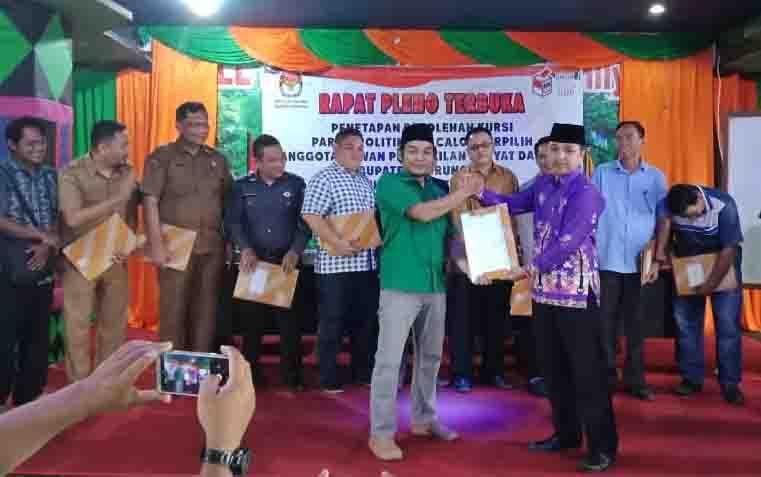Penyerahan hasil penetapan calon terpilih kepada setiap perwakilan partai politik oleh Ketua KPU Murung Raya.