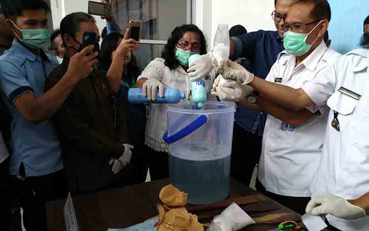 Pemusnahan narkotika sabu di aula BNNP Kalimantan Tengah, Rabu 31 Juli 2019