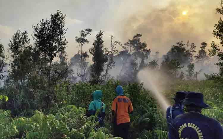 Tim ketika melakukan pemadaman kebakaran lahan di Kecamatan Seruyan Hilir Timur Kabupaten Seruyan.