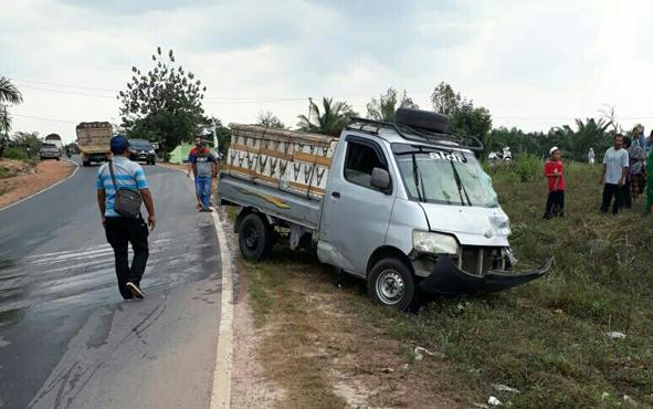 Begini kondisi mobil pikap yang terlibat tabrakan di Jalan Tjilik Riwut, Km 88, Desa Pundu, Kecamatan Cempaga Hulu, Kotim, Kamis, 8 Agustus 2019.