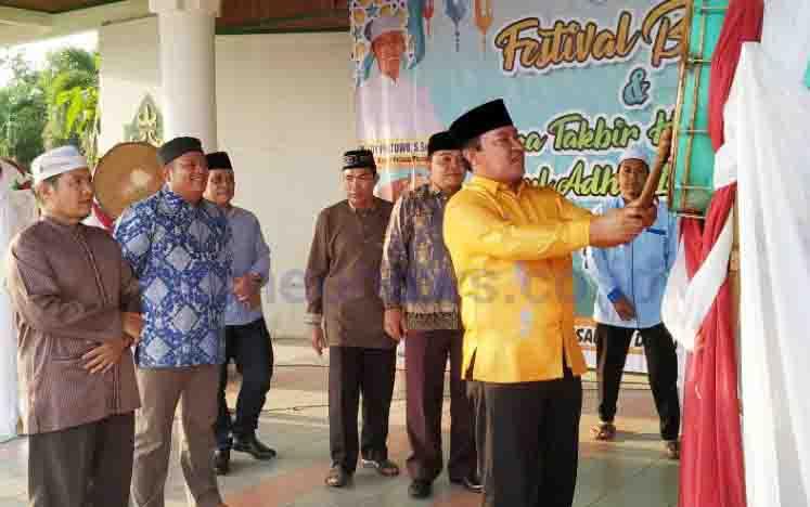 Bupati Pulang Pisau Edy Pratowo saat membuka Festival Bedug dan Gema Takbir Hari Raya Idul Adha 1440, Sabtu, 10 Agustus 2019.