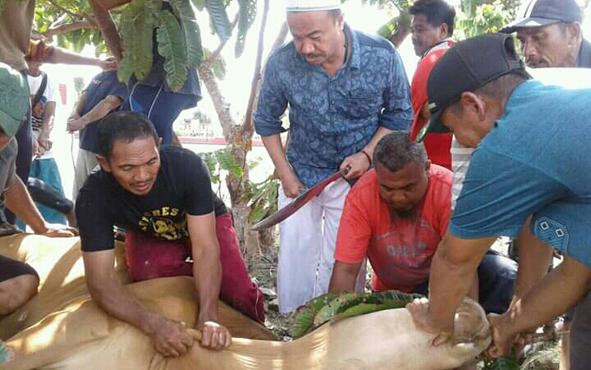 Bupati Seruyan Yulhaidir (pegang parang) saat akan memotong sapi kurban di halaman rumah jabatannya, Selasa, 13 Agustus 2019.