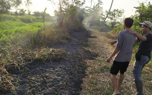 Tersangka ZA (kiri) saat diminta polisi menunjukan lahan yang dibakarnya, Senin, 12 Agustus 2019.