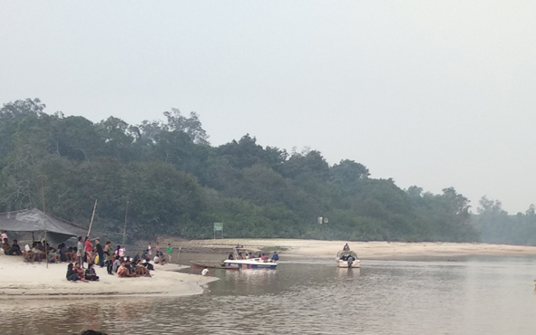 Tim SAR saat mencari jenazah mahasiswa UGM yang tenggelam di Sungai Rungan, Teluk Kaja, Kecamatan Bukit Batu, Kota Palangka Raya, Minggu, 11 Agustus 2019.