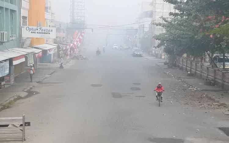 Kabut asap akibat kebakaran lahan yang di Kalimantan Tengah.