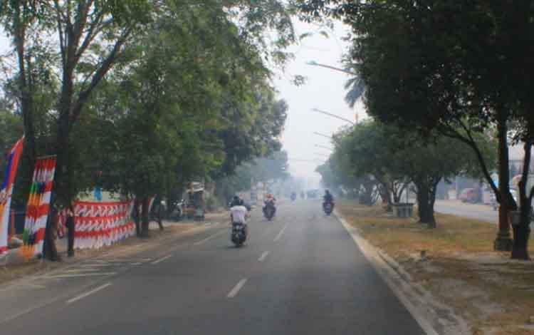 Kondisi Kota Palangka Raya masih di kepung asap.