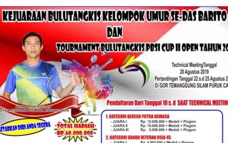 Spanduk pendaftaran turnamen bulutangkis se-DAS Barito di Kabupaten Murung Raya