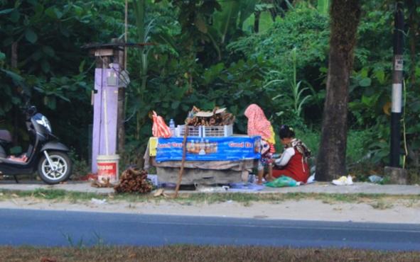 Warga sedang menjual kayu bajakah di Jalan RTA Milono, Palangka Raya, Minggu, 18 Agustus 2019.