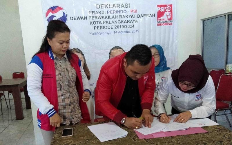 Penandatangan deklarasi Fraksi Perindo-PSI, Rabu, 21 Agustus 2019.