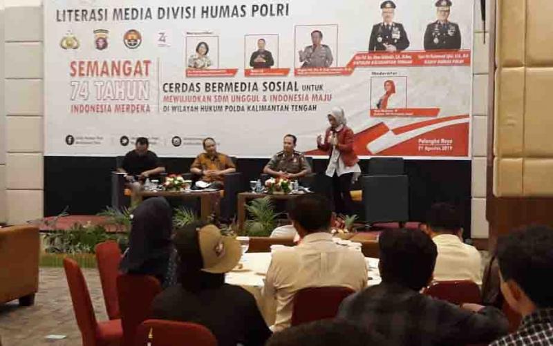 Divisi Humas Polri menggelar literasi media, cerdas bermedia sosial, Rabu, 21 Agustus 2019.
