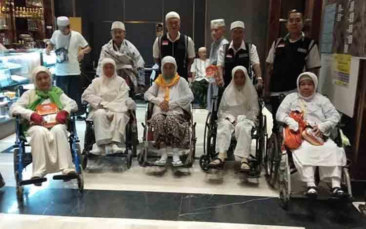 Sejumlah Jamaah Haji seusai melakukan ibadah Tawaf Wada\\\' di Mekkah