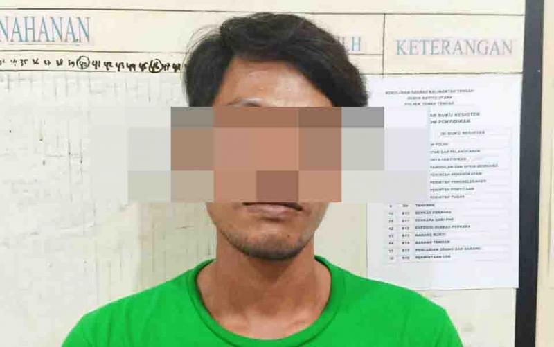 Salah satu pelaku pembakaran lahan yang diamankan petugas Polres Barito Utara.
