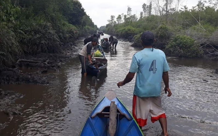 Kondisi Kerukan Hantipan di Kabupaten Katingan saat ini dangkal.