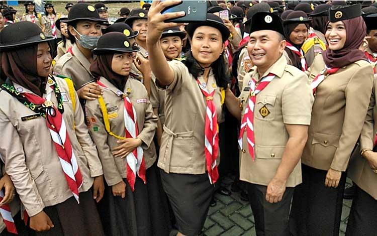 Gubernur Kalimantan Tengah Sugianto Sabran usai acara Hari Pramuka di Palangka Raya,