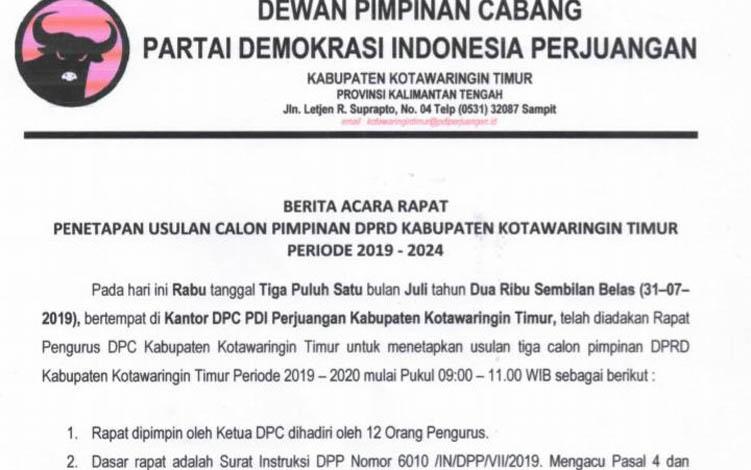 Berita acara usulan pimpinan DPRD Kotim dari PDI Perjuangan.  Bila salah dalam merekomendasikan PDIP dinilai bisa rugi dan justru menguntungkan Golkar dan PAN.