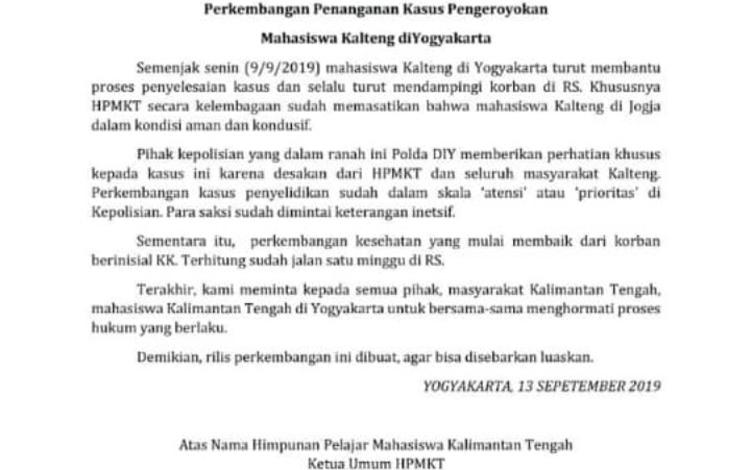 Rilis HPMKT terkait perkembangan kasus pengeroyokan mahasiswa asal Kalteng di Yogyakarta. Hinggasepekan pascajadi korban pengeroyokan, mahasiswa asal Kalteng yang kuliah di Yogyakarta, Kristovorus Karubin, masih belum pulih sepenuhnya.