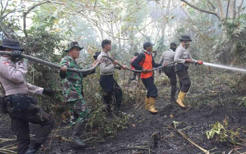 Pemadaman karhutla di Seruyan. DPRD Seruyan mendukung pembentukan tim pencegahan karhutla di setiap kecamatan.