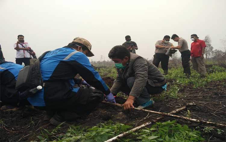 Pengambilan sample tanah dari lahan yang terbakar milik perusahan. Saat ini Polres Kotim sudah tetapkan 8 orang tersangka kasus pembakaran lahan, Selasa, 24 September 2019