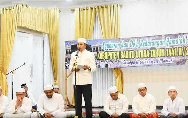 Syukuran dan doa bersama kedatangan jamaah haji,di rumah jabatan Bupati Barito Utara, Kamis, 26 September 2019.