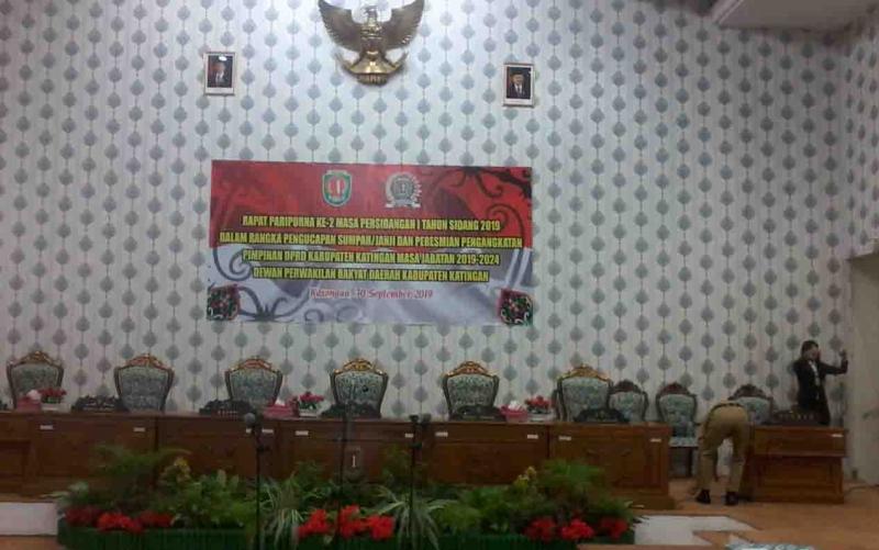 Ruang rapat paripurna DPRD Katingan, untuk lokasi pelantikan unsur pimpinan periode 2019 - 2024.