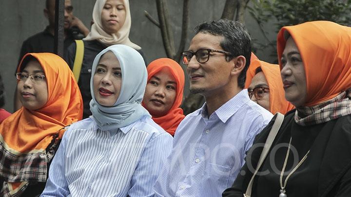 Cawapres nomor urut 02, Sandiaga Uno dan istrinya Nur Asia Uno. Istri Sandiaga Uno batal maju Pilkada Tengerang Selatan.