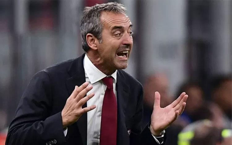 Pelatih AC Milan yang baru dipecat Marco Giampaolo. (Photo by Miguel MEDINA / AFP) (AFP/MIGUEL MEDIN