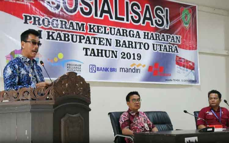 Wakil Bupati Barito Utara, Sugianto Panala Putra membuka sosialisasi Program Keluarga Harapan, Kamis 10 Oktober 2019
