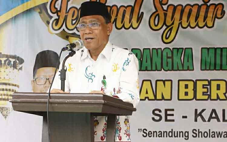 Kepala Kemenag Kapuas Ahmad Bahruni mendukung pengembangan seni budaya Islam lewat festival Habsyi MAN bersholawat