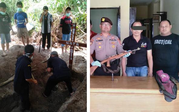 Keluarga dan warga membongkar kuburan seorang laki-laki bernama Nata, 39, di Tempat Pemakaman Umum, Desa Ugang Sayu, Kecamatan Gunung Bintang Awai (GBA), Kabupaten Barito Selatan, Senin, 14 Oktober 2019 sekitar pukul 13.30 WIB.