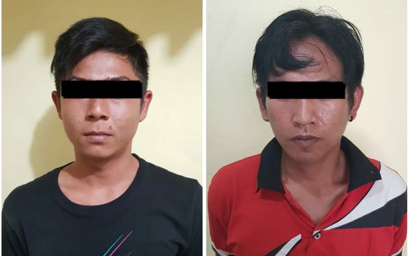 Anggota Polsek Dusun Tengah, Kabupaten Barito Timur, membekuk dua orang pengedar narkoba jenis sabu di halaman Penginapan Surya Janah Harapan, Jalan Ampah-Muara Teweh, Kamis, 17 Oktober 2019 siang.