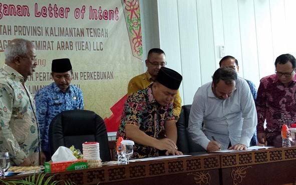 Gubernur Kalimantan Tengah Sugianto Sabran sepakat bekerja sama dengan Elite Agro Uni Emirat Arab (UEA) LLC untuk mengembankan pertanian dan perkebunan di Bumi Tambun Bungai.