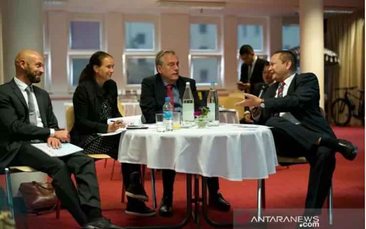 BNP2TKI saat bertemu dengan perwakilan pemerintah Jerman membahas soal ketenagakerjaan. (ANTARA/HO-B