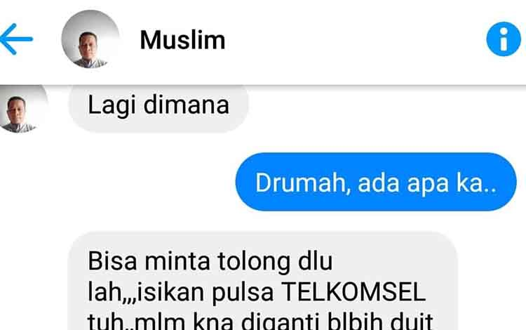Salah satu akun facebook warga Murung Raya yang diretas dan berupaya melakukan penipuan, Rabu, 23 Oktober 2019.
