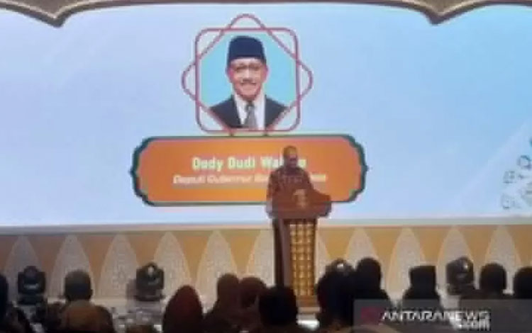 Deputi Gubernur Bank Indonesia Dody Budi Waluyo dalam acara Seminar Nasional dan Peluncuran Buku di