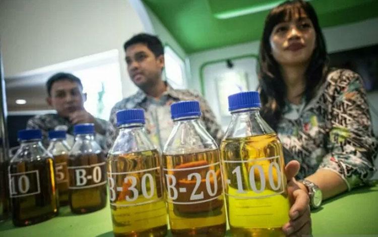Petugas menunjukkan sampel bahan bakar minyak (BBM) B-20, B-30, dan B-100 di Jakarta (ANTARA FOTO/Aprillio Akbar)