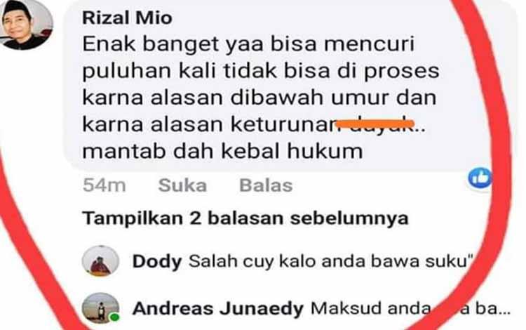 Komentar Rizal Primadi saat menanggapi salah satu status di Facebook beberapa waktu lalu. Rizal sudah meminta maaf kepada polisi
