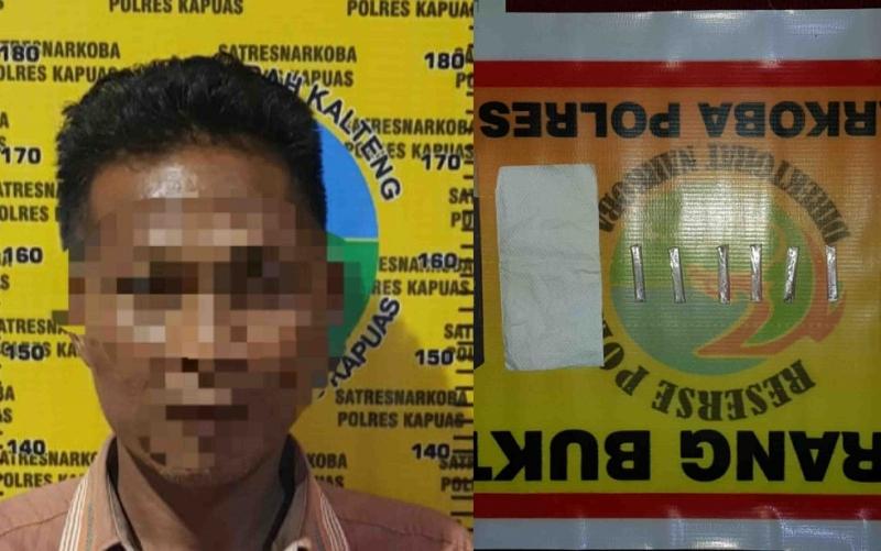 Tersangka kasus sabu, LU beserta barang bukti yang diamankan Polres Kapuas.