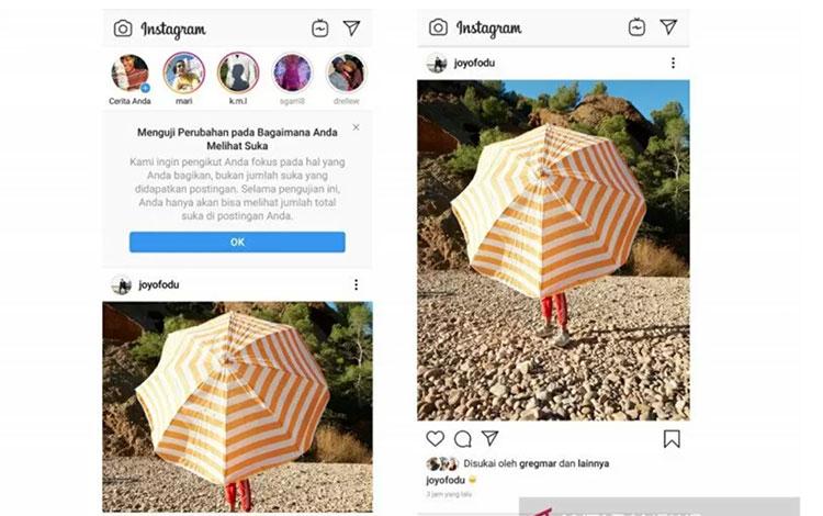 """Instagram sedang menguji coba penyembunyian jumlah \""""like\"""" untuk para pengguna di Indonesia. (ANTARA/HO Instagram Indonesia)"""