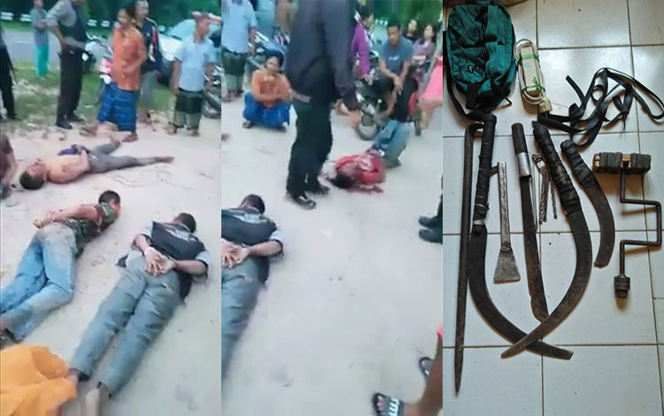 Ketahuan masuk ke rumah warga hendak mencuri, lima tersangka pelaku ditangkap dan dihakimi warga hin
