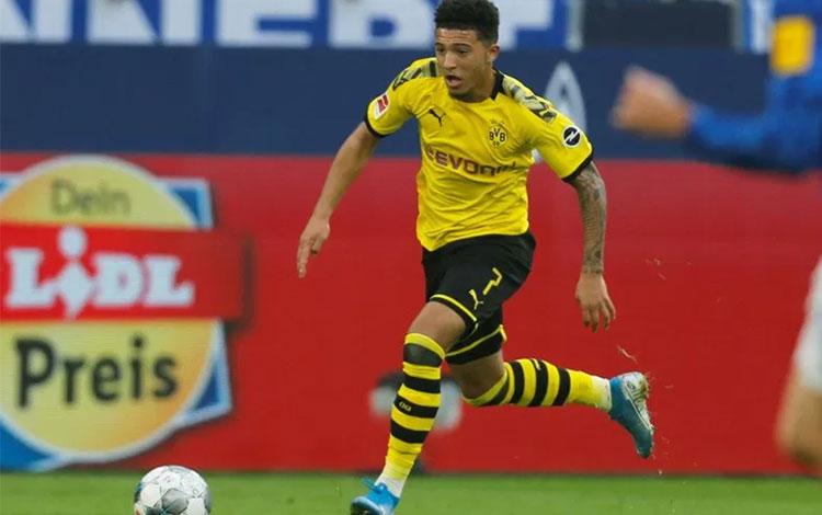 Pemain Borussia Dortmund Jadon Sancho. (REUTERS/LEON KUEGELER)