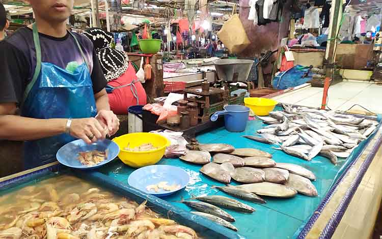 Salah seorang penjual ikan di Pasar Kahayan, Palangka Raya. Sementara itu Komisi B mendorong Pemko Palangka Raya meningkatkan produksi perikanan