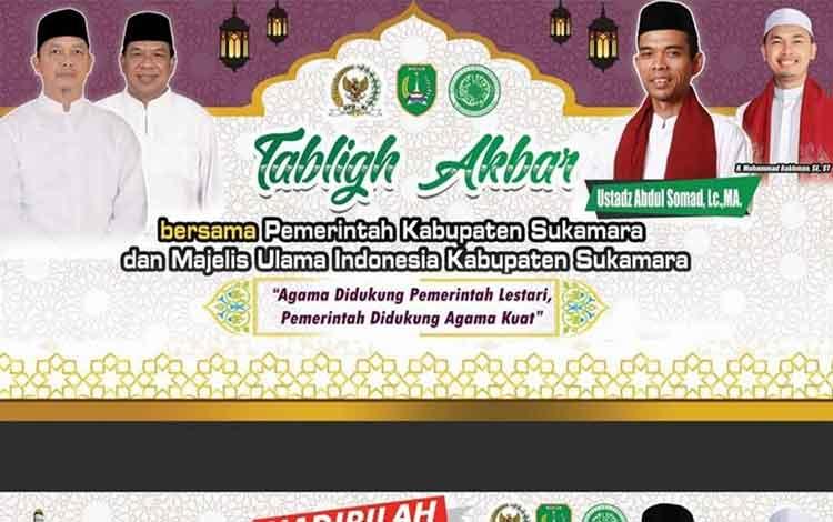 Baleho penyambutan kedatangan Ustadz Abdul Somaddi Kabupaten Sukamara.