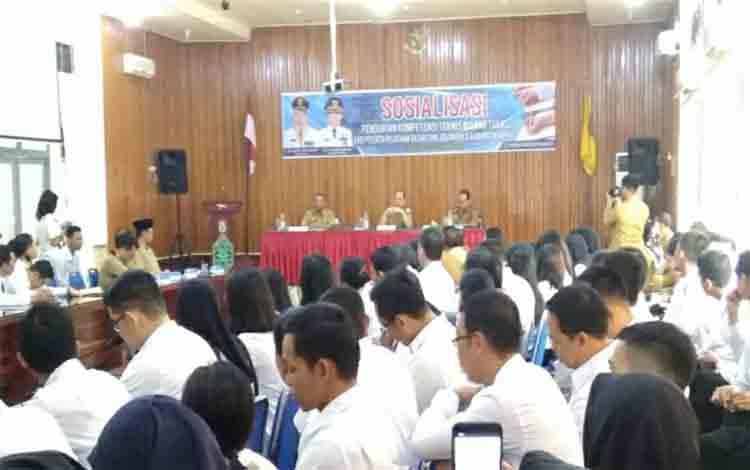 Suasana BKPSDM Kapuas menggelar Bimtek dan sosialisasi penguatan kompetensi teknis bagi CPNS, Senin 2 Desember 2019