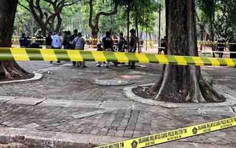 Lokasi ledakan granat di kawasan Monas, Selasa, 3 Desember 2019 pagi. (foto : istimewa)