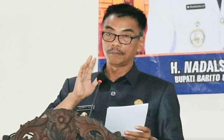 Wakil Bupati Barito Utara, Sugianto Panala Putra memberikan sambutan diacara rapat koordinasi penanggulangan kemiskinan, Kamis 12 Desember 2019