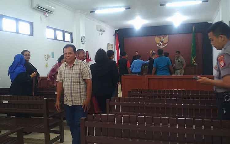 Ruang persidangan Pengadilan Negeri Palangka Raya usai putusan sidang praperadilan tersangka kasus korupsi Disdik Provinsi Kalteng.