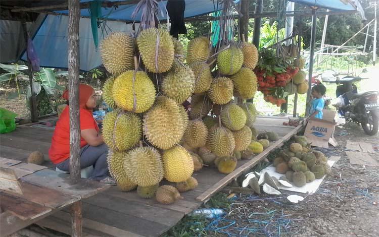 Sejak beberapa hari ini buah durian mulai ramai dijajakan warga Kasongan tepi jalan