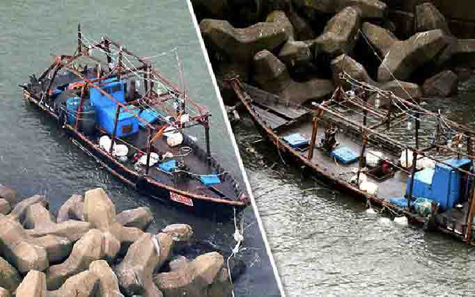 Perahu hantu, tempat ditemukannya jasad manusia yang diduga dari Korea Utara, Sabtu, 28 Desember 2019. (Foto: Daily Express via teras.id)