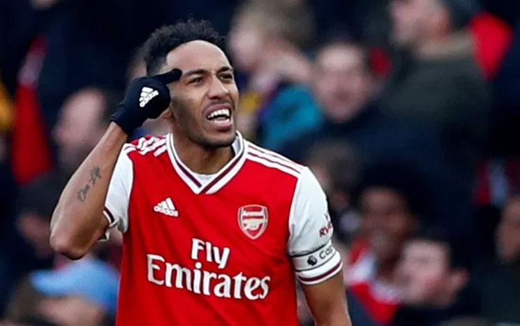 Pemain Arsenal Pierre-Emerick Aubameyang. (REUTERS/EDDIE KEOGH)